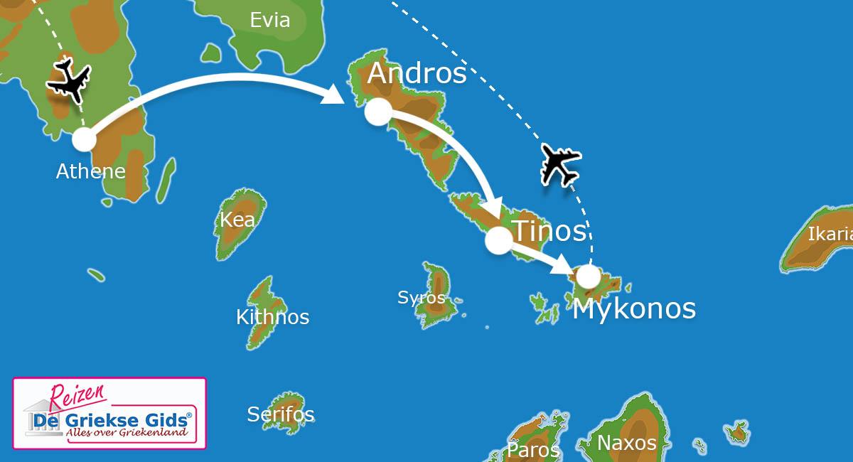 Waar ligt Eilandhoppen Andros Tinos Mykonos?