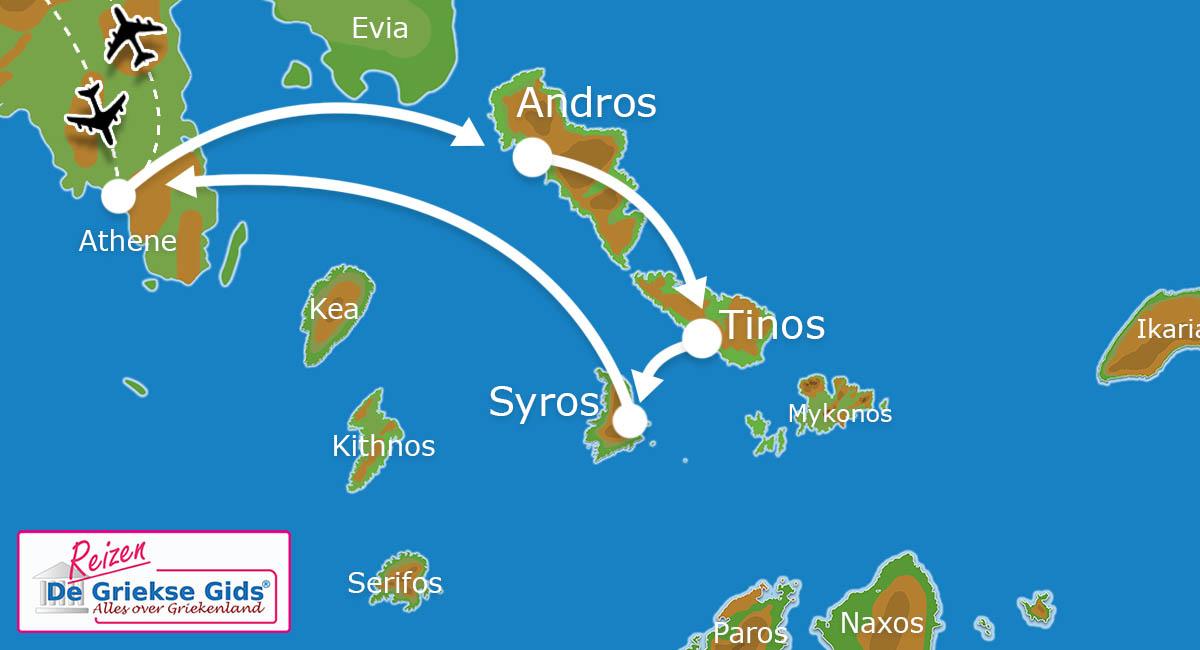 Waar ligt Eilandhoppen Andros - Tinos -  Syros?