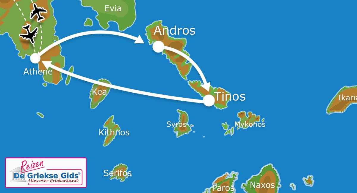 Waar ligt Eilandhoppen Andros & Tinos?