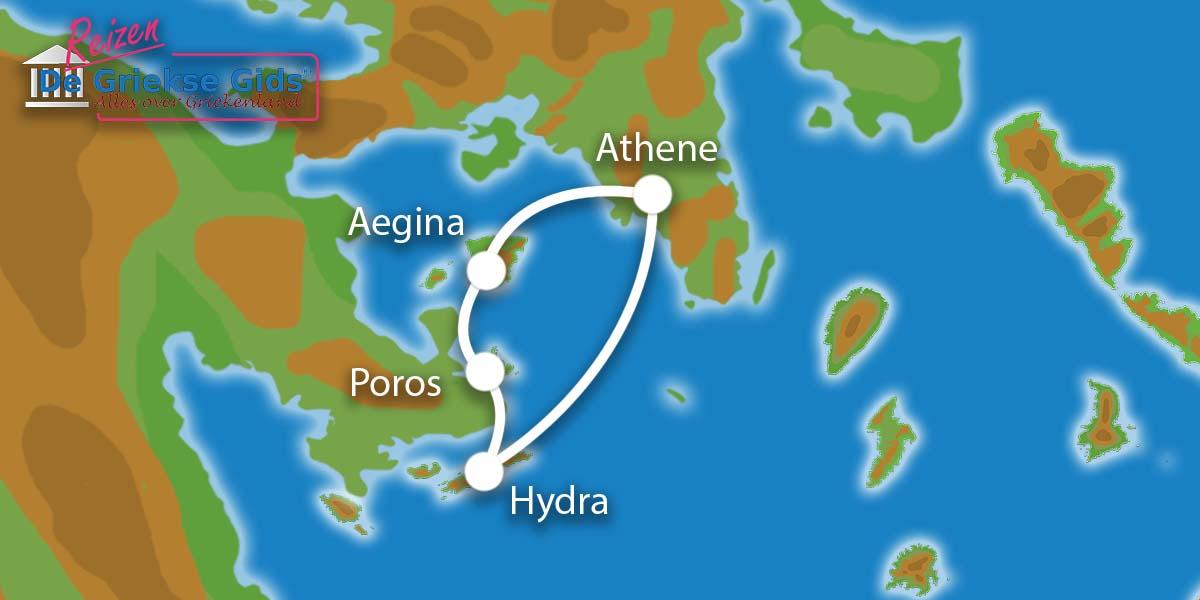 Waar ligt Eilandhoppen Hydra, Poros en Aegina?