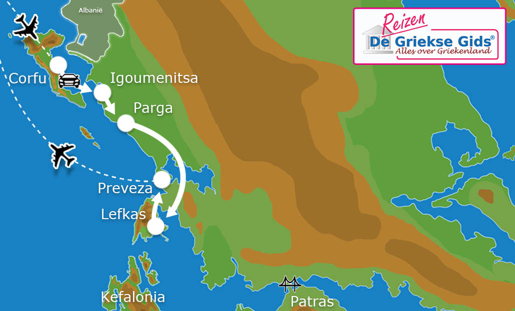 Waar ligt Eilandhoppen Corfu Parga Lefkas?