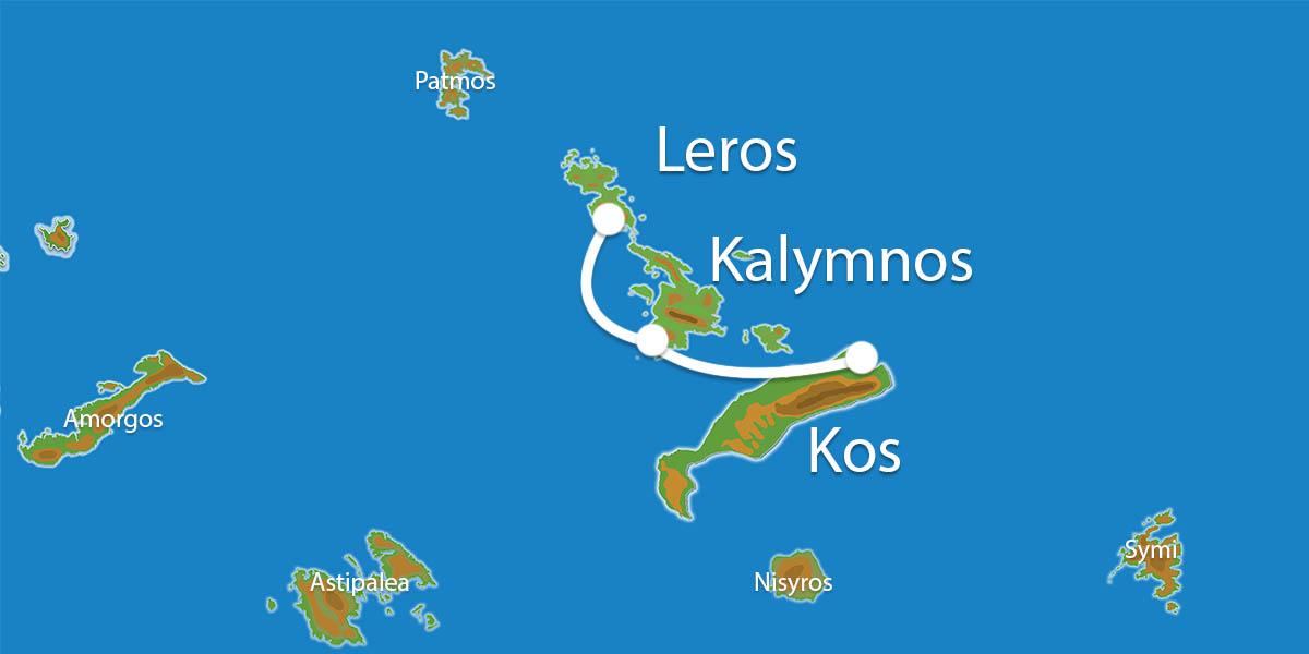Waar ligt Eilandhoppen Kos, Kalymnos & Leros?