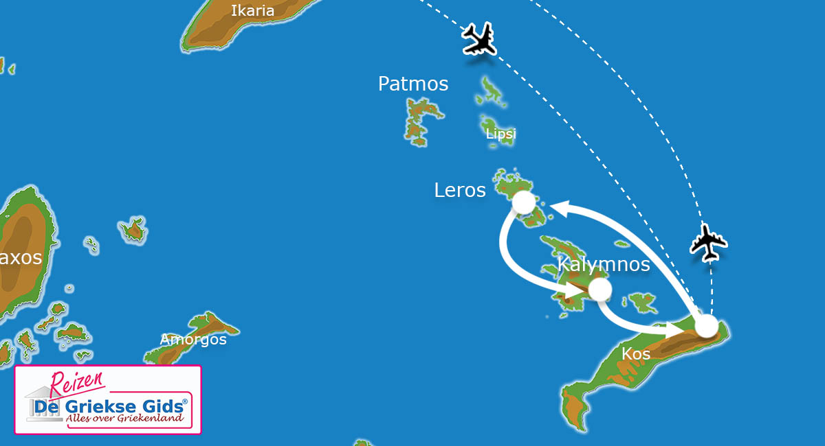 Waar ligt Eilandhoppen Patmos Leros Kalymnos?