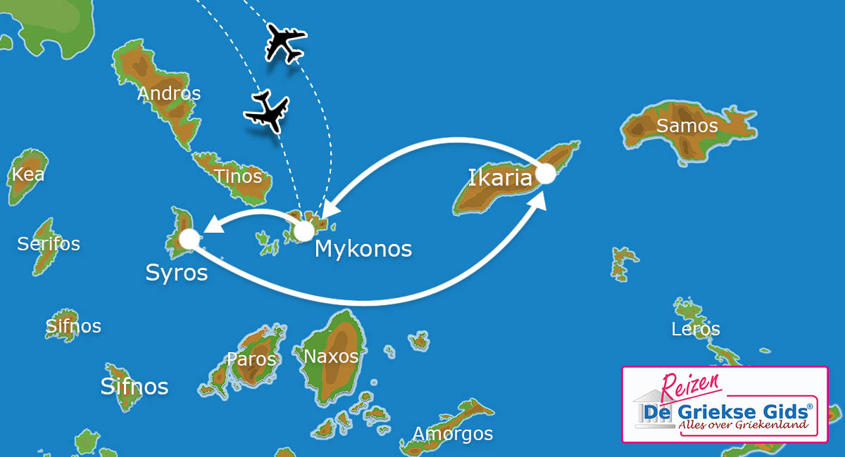 Waar ligt Eilandhoppen Syros, Mykonos & Ikaria ?