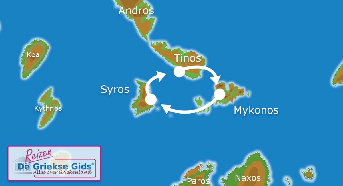 Waar ligt Eilandhoppen Syros Tinos Mykonos?
