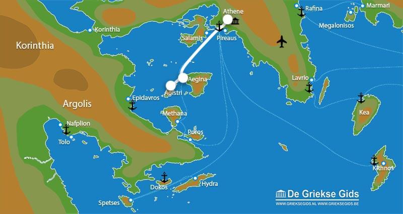 Waar ligt Eilandhoppen Athene, Aegina & Angistri?