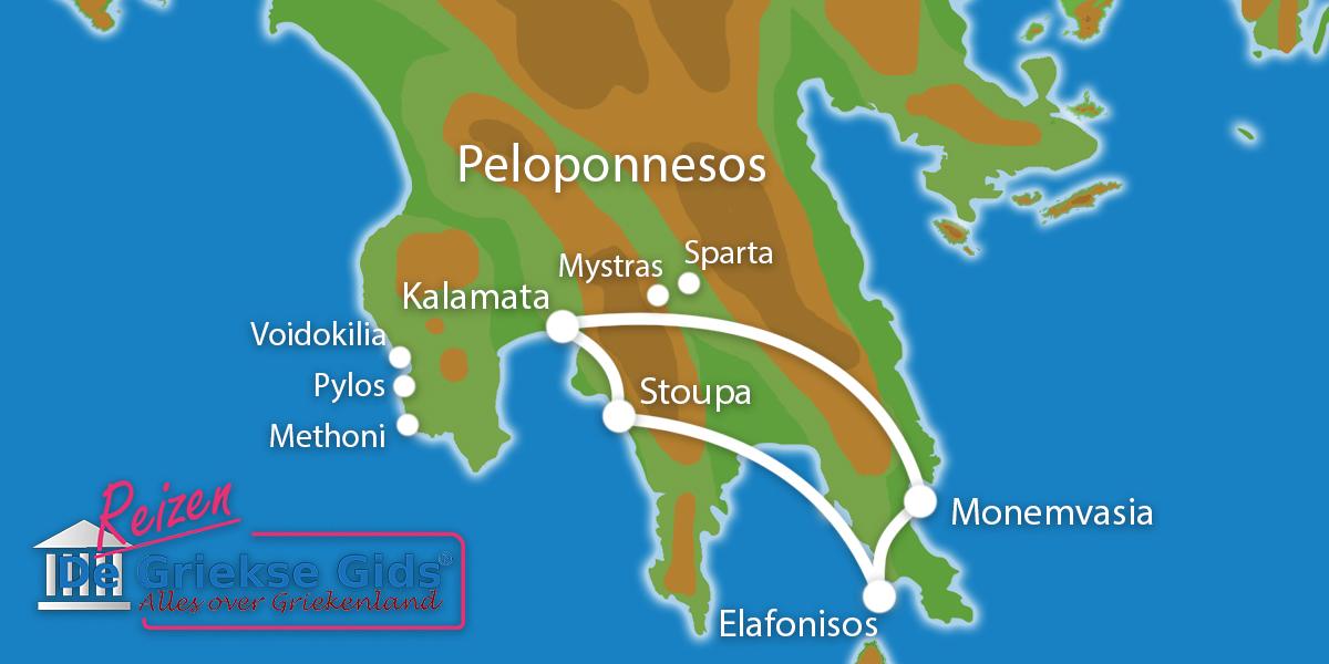 Waar ligt Fly & Drive Zuid-Peloponnesos en Elafonisos?
