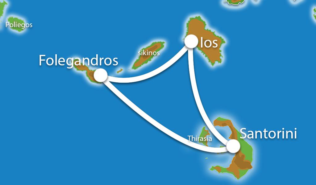 Waar ligt Eilandhoppen Santorini, Ios, Folegandros?