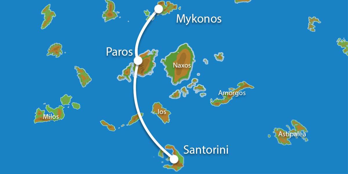 Waar ligt Eilandhoppen Mykonos Paros Santorini?
