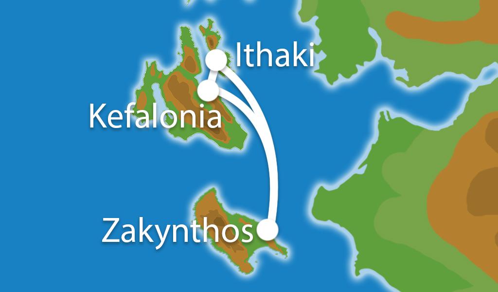 Waar ligt Eilandhoppen Zakynthos, Kefalonia & Ithaki?
