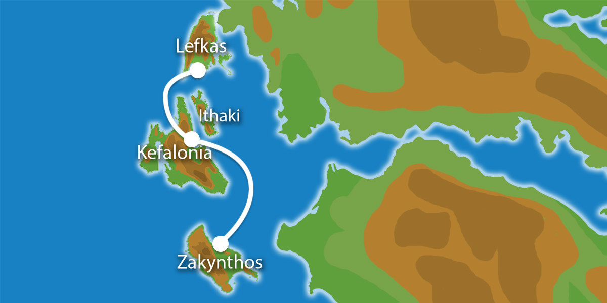 Waar ligt Eilandhoppen Lefkas Kefalonia Zakynthos?