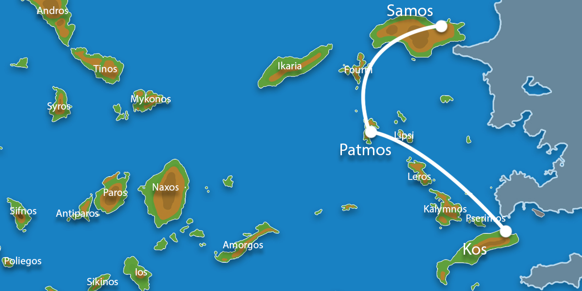 Waar ligt Eilandhoppen Kos, Patmos & Samos?