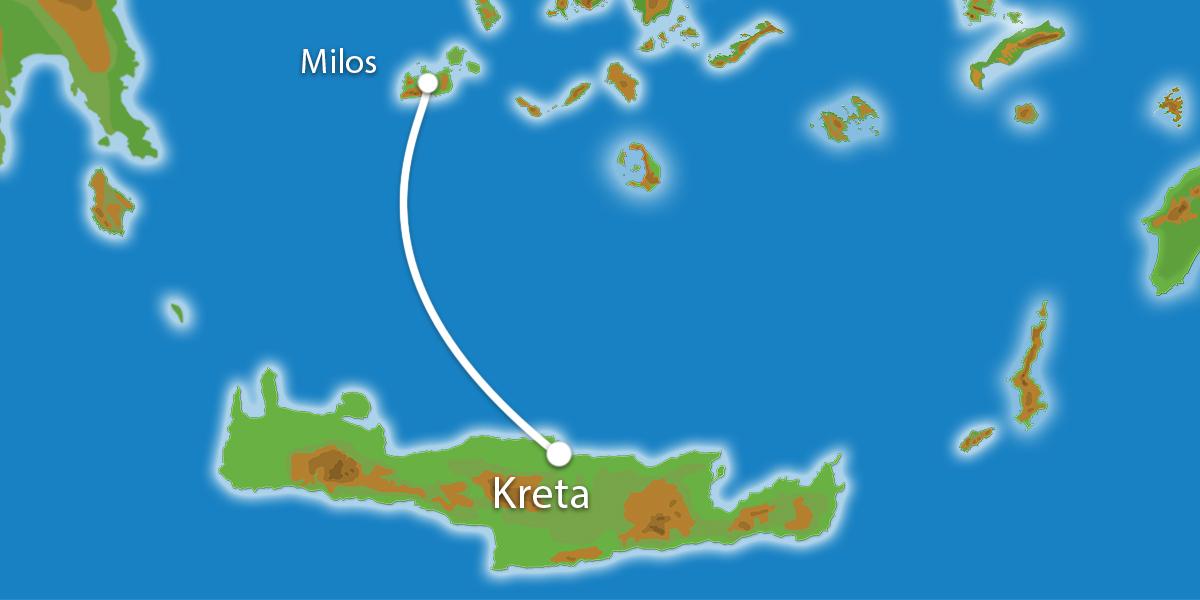 Waar ligt Eilandhoppen Kreta & Milos?