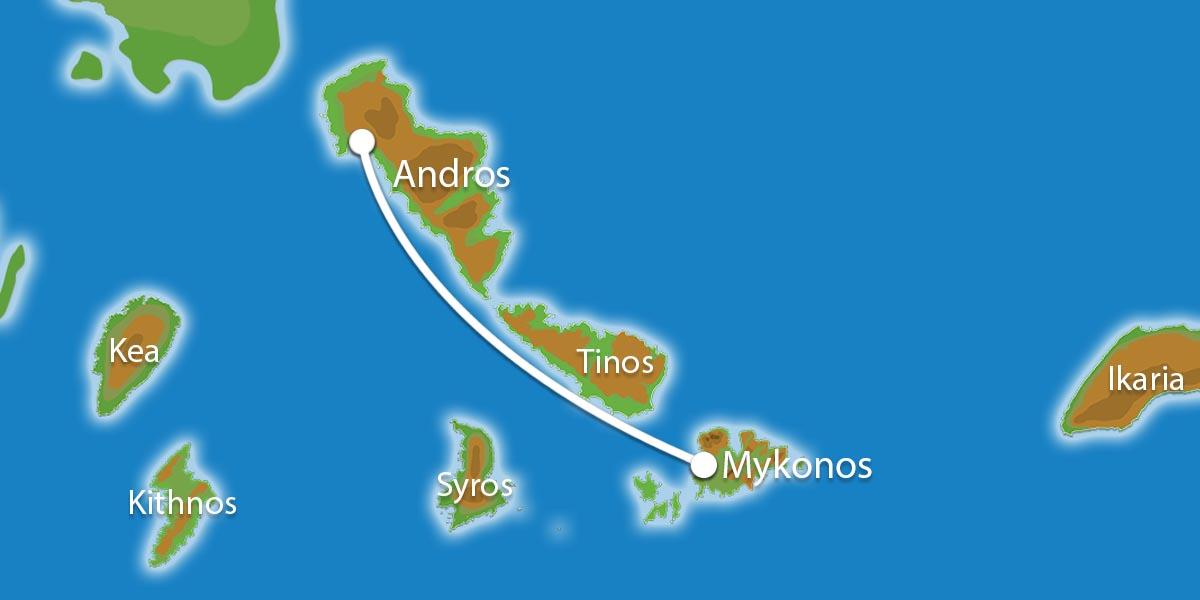 Waar ligt Eilandhoppen Mykonos & Andros?