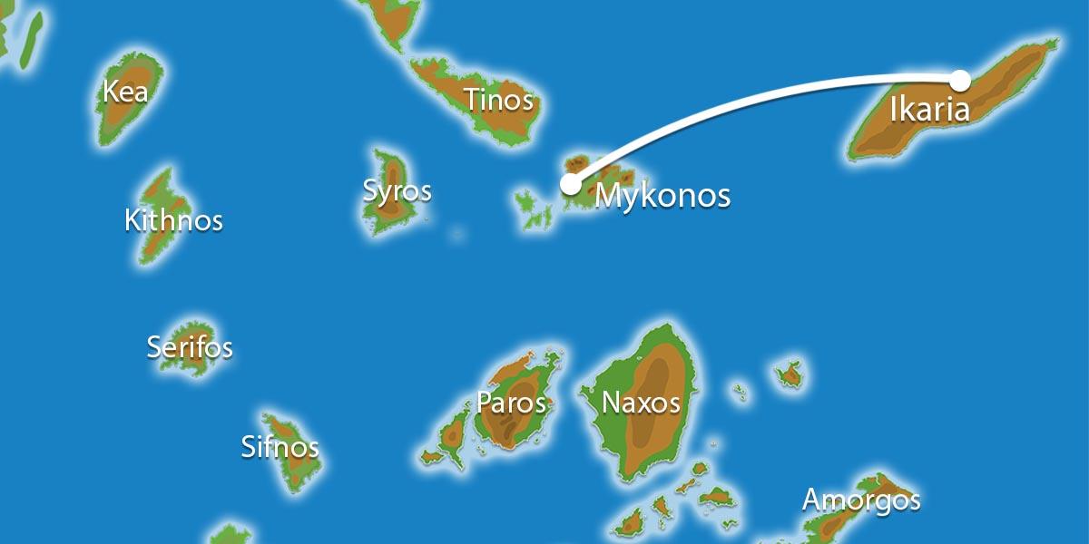 Waar ligt Eilandhoppen Mykonos & Ikaria ?