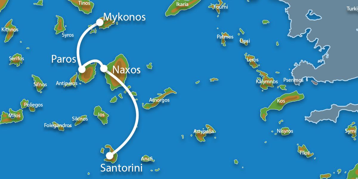 Waar ligt Eilandhoppen Mykonos, Paros, Naxos & Santorini?