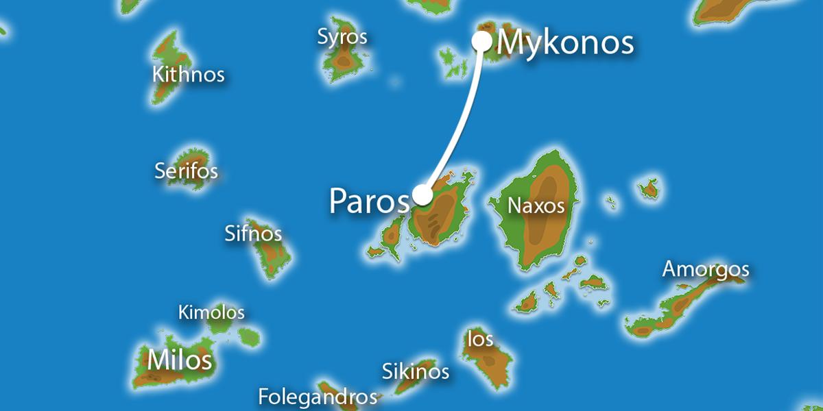 Waar ligt Eilandhoppen Mykonos & Paros?