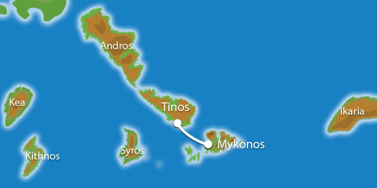 Waar ligt Eilandhoppen Mykonos & Tinos?