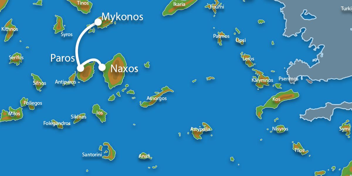 Waar ligt Eilandhoppen Paros, Naxos & Mykonos?