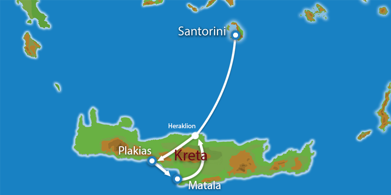 Waar ligt Eilandhoppen Santorini Plakias Matala?