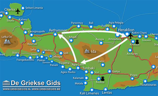 Waar ligt Fly & Drive Agia Galini - Rethymnon Kreta?