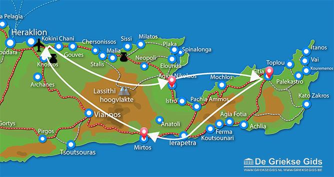 Waar ligt Fly & Drive Agios Nikolaos, Mirtos, Sitia Kreta?