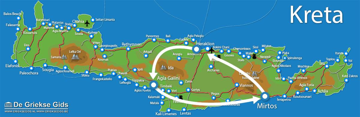 Waar ligt Fly & Drive Agia Galini - Mirtos Kreta?